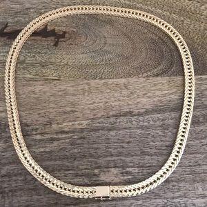 Jewelry - 14K Gold Flat Link Necklace - Heavy Duty! Vintage!